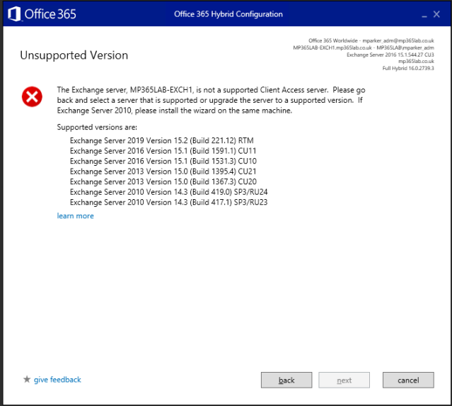 Office 365 Hybrid Configuration Wizard no longer runs with